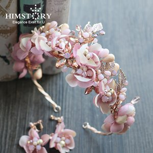 Himstory Handmade Romantic Princess Wedding Hairband Pink Blossom Flower Tiaras Crown Pageant Prom Wedding Party Headband Hair Accessories
