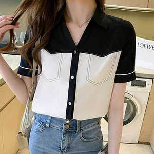 Women's Polos Women Tops And Blouses 2021 Fashion Patchwork Elegant Collar Short Sleeve Lady Shirts Female Loose Casual Blusas