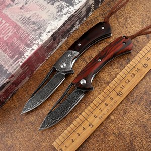 VG10 Damascus steel wooden handle folding knife tactical outdoor survival hunting camping self-defense multifunctional EDC tool