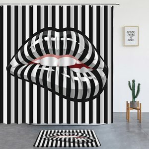 Shower Curtains Black And White Stripes Set Sexy Red Lips Non-slip Rug Washable Bathroom Decor Screen Bath Mat Entrance Door