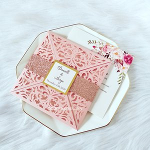 Pink Personalized Print Laser Cut Fold Wedding Party Cards with Glitter Belly Band And Tag DIY Gold Mirror Insert Bridal Shower Invites