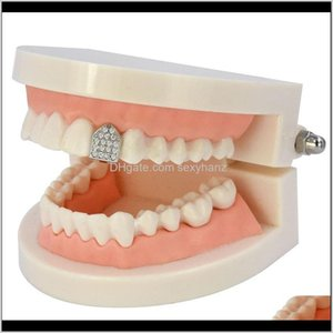 Grillz, Dental Body Drop Delivery 2021 Iced Out Zircon Gold Teeth Grillz Micro Pave Top And Bottom Grills Single Caps Vampire Tooth Jewelry 1