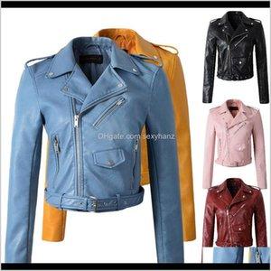 Womens Faux Winter Autumn Clothing Coat Outerwear Motorcycle Slim Fashion Leather Jacket Women Girls Yellow Coats Unpfp Btooi