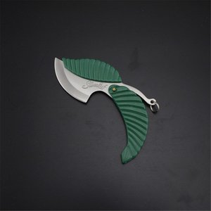1pcs Green Mini Fold Leaf Shape Pocket Knife Folding Car-styling Keychain Outdoor Camp Knifes Camping Hiking Survival Tool