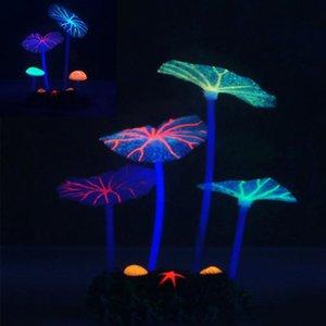 Fluoreszierende künstliche koralle glühende lotus blatt pilz leuchtende steine aquarien ask tank dekor zubehör dekorationen