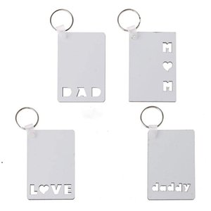 Blank MDF Thermal Transfer Keychain Pendant Square Sublimation Printing Keyring with Round Ring DWF9188