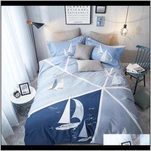 Sets Supplies Textiles Home & Garden Drop Delivery 2021 Sailboat Printed Queen King Size J Pcs Ultra Soft Brushed Cotton Duvet Er Bedding Set