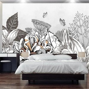 Wallpapers Mi'lo'fi Custom 3D Wallpaper Mural European Modern Minimalist Hand-painted Tropical Plant Background Wall Decorative Painting