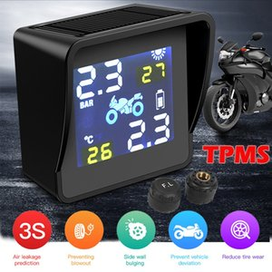 LANGDA Smart Solar   Usb Charge Motorcycle TPMS Tire Pressure Monitoring Alarm System with 2 Sensors