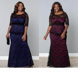 2021 Lace Applique Plus Size Dresses Sheer Bateau Neck With Sleeves Mothers Party Prom Dress Evening Gown For Special Occasion Floor Length
