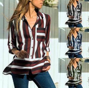 European And American Casual Striped Long-sleeved Women's Chiffon Shirt Top Blouses & Shirts