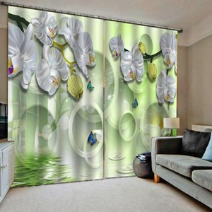 Curtain & Drapes Fresh Green Curtains 3D Luxury Blackout Window Living Room Stereoscopic