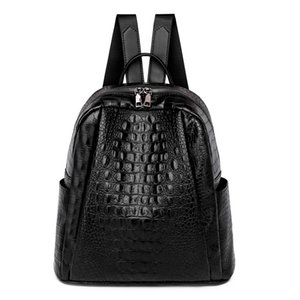 Leisure backpack female 2021 crocodile-pattern soft leather retro outdoor travel European and American fashion trends everything