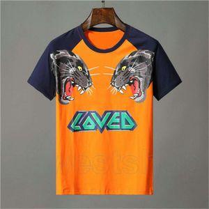 مصمم ملابس رجالي برتقالي تي شيرت إلكتروني الحيوان النمر الذئب طباعة الزى أحب المرقعة اللون تي عارضة المرأة بلايز تي شيرت الأعلى