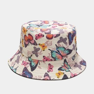 High Quality Oloey Butterfly Printed Beauty Fashion Fisherman Hats Women Solid Wide Brim Caps Double-sided Bucket Hat Streetwear