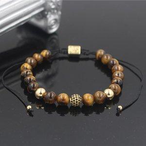 PINIYA Fashion Luxury Men's 8MM Tiger Eye Stone Bead Micro Pave Black CZ Copper Ball Charm Braiding Macrame Bracelet For Women
