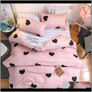 Supplies Textiles Home & Garden Drop Delivery 2021 Cartoon Pink Love Bedding Sets 4Pcs Modern Simple Animal Pattern Linings King Duvet Bed Sh
