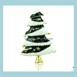 Pins Drop Delivery 2021 Wholesale High Quantity Pins Fashion Enamel Tree Gold Plated Brooches Weddings Christmas Decoration Jewelry X3G4O