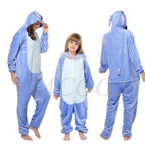 Stitch Onesies Kigurumi Winter Women Panda Pajamas Boys Girls Animal Pyjamas Adults Kids Costumes Flannel Cartoon Sleepwear 210915