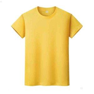 Yeni Yuvarlak Boyun Katı Renk T-Shirt Yaz Pamuk Dip Gömlek Kısa Kollu Erkek ve Bayan Yarım Kollu 9iaxio