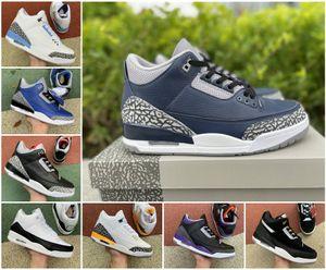 Fashion 3s 3 Air Mens Basketball Shoes Jumpman Knicks Rivals JSP TINKER SPJTH BLACK CEMENT NRG UNC Blue PE Mocha Laser Orange Fragment Brand Designers