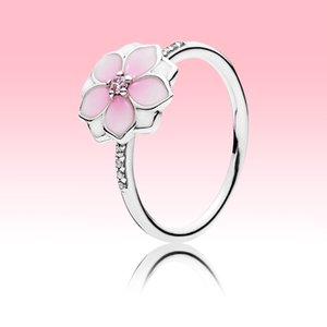 Pink Flowers Womens ring Beautiful Summer Jewelry for Pandora 925 Sterling Silver cz diamond Girl Rings with Original box sets