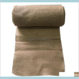 Table Runner Cloths Home Textiles & Garden 10M*33Cm Hessian Jute Burlap Roll For Wedding Party Banquet Venue Arch Decorations Favors D