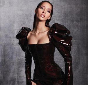 Вечернее платье Женщины Ткань шерсть Высокое плечо Кайли Дженнер Ким Кардашьян