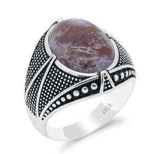 Cluster Rings Real 925 Sterling Silver Vintage Men's Ring With Zinnober Agate Turkish Punk Fine Jewelry To Male Husband Gift