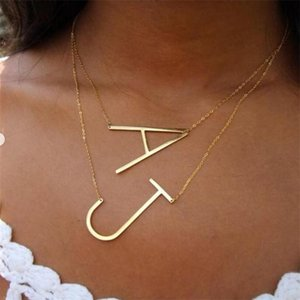 Simple 26 Letters Pendant Necklace For Women Charm Jewelry A B C D E F G H I J K L M N O P Q R S T U V W X Y Z Large Initial BFF Chains