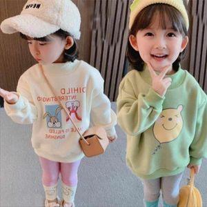 Hoodies & Sweatshirts Girls' Kids Outwear 2021 Sweet Velvet Thicken Warm Winter Autumn Cotton Fleece Plus Size Children's Clothing