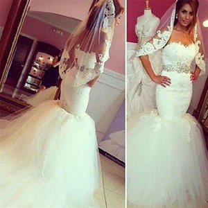 Corset sans manches Robe de mariée de sirène de sirène avec bouteille perlée amovible tulle dentelle mariée pour la mariée faite sur mesure