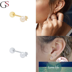 Stud GS Single White Pearl Earrings For Women Luxury Piercing Latest Fashion Jewelry Gift 925 Sterling Silver Ladies Pendientes Factory price expert design Quality