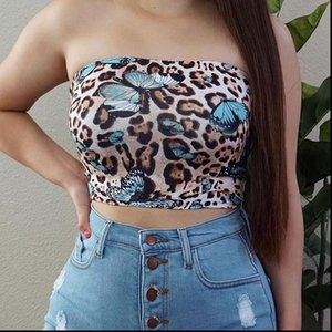 Sexy Women Tank Leopard Butterfly Print Strapless Bustiers Corsets Vest Camis Tops Clubwear Camisoles Summer Bodycon