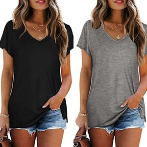 2021 designer fashion spring and summer women's Casual Short Sleeve solid color V-neck loose T-shirt blouse for women