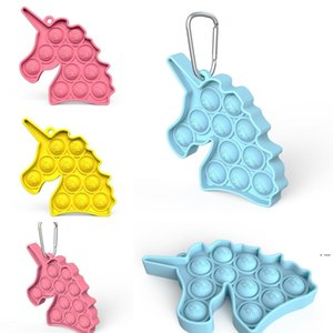 Cartoon Key Chain Unicorn Push Bubble Poppers Poo-its Desktop Puzzle Toy Pop It Sensory Fidget Pads Key Ring Holder HWB6400