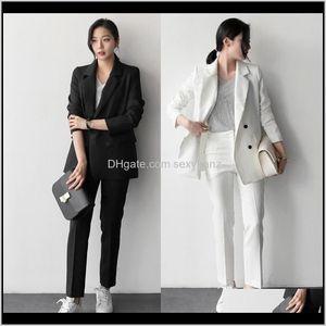 Брюки Две женские одежды Одежда Одежда Drop Доставка 2021 Мода 2 шт Наборы Костюмы Двухбордовые блейзированные блейдер и офис прямых брюк