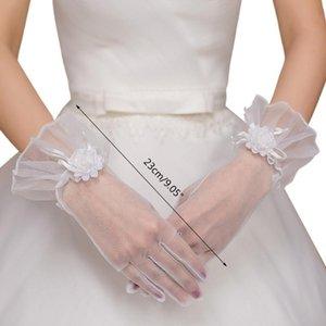 Five Fingers Gloves Bride Short Mesh Ruffles Lace Bowknot Flower Elegant Tea Party For Women Wedding Bridal Cosplay Ornaments