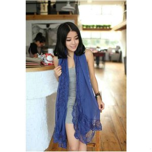 New Korean Chiffon autumn women's solid color stitching lace edge scarves Yiwu