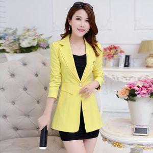 Plus Size Spring Autumn Office Lady Blazer Womens Blazers Long Slim Woman Jacket And Coat Single Button Business Women's Suits &