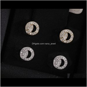 Fashion Gold Diamond Stud Earrings Aretes Lady Women Party Wedding Lovers Gift Engagement Jewelry For Bride With Box Have Stamps Hjgir Rvtsy