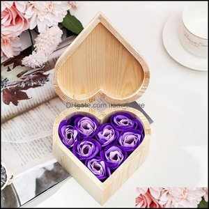 Gift Event Festive Party Supplies Home & Gardengift Wrap Valentines Day Artificial Rose Flowers With Wooden Box Heart Shaped For Valentine M