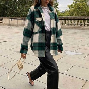 Inspired Classic Thick Colorblock plaid Button Down Shirt Jacket women casual streetwear jackets for women tweed jacket 210412