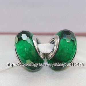 Green Bracelets Charm Silver Screw 5pcs Murano Glass Faceted Beads Fits European S925 Jewelry Pandora Sterling Iasak