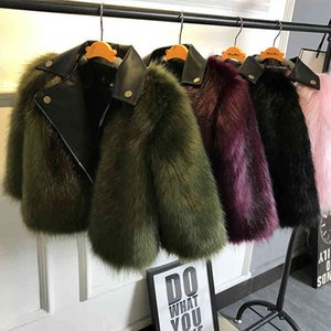 Girl fur Coat Jacket Imitation fox Artificial Fur Grass High Quality Plush+leather Fake Two Pieces Winter Kids Clothes Warm Fur C1118