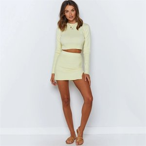 Women Knitted Suit Crop Top Mini dress Long Sleeve Two Piece Set O Neck Female Matching Set Autumn Outfits 121606 ottie