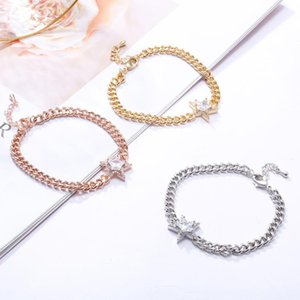 Fashion Cubic Zirconia Star Gold Charm Bracelet Curb Cuban Link Chain Bracelets For Women Punk Jewelry Bijoux Femme Dropship