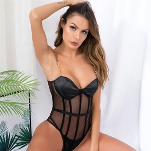 Spaghetti Strap Club Party Clothes 2021 Summer Women Sexy Transparent Body Suit Fashion Metal Chain Black Mesh Lady Outfits Women's Tracksui