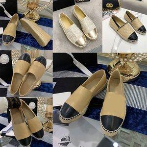 Women's luxury casual shoes designer retro platform espadrilles girl fisherman leather fashion hemp rope flat bottom walking box size 35-42