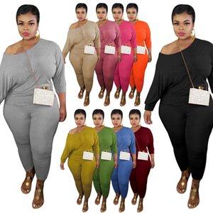 Осень Plus Размер трексуиты Сексуальные наряды с длинным рукавом дизайн повседневный сплошной цвет трексуита набор из двух частей